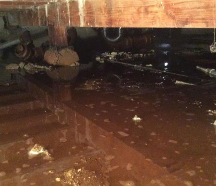 Crawlspace Flood at Surf Shop Before