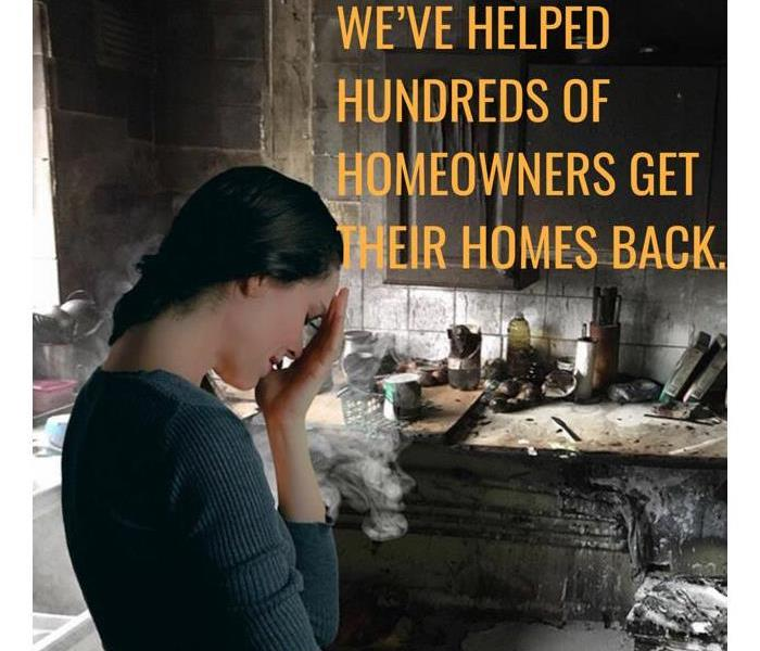 Women in distress after a fire in her kitchen