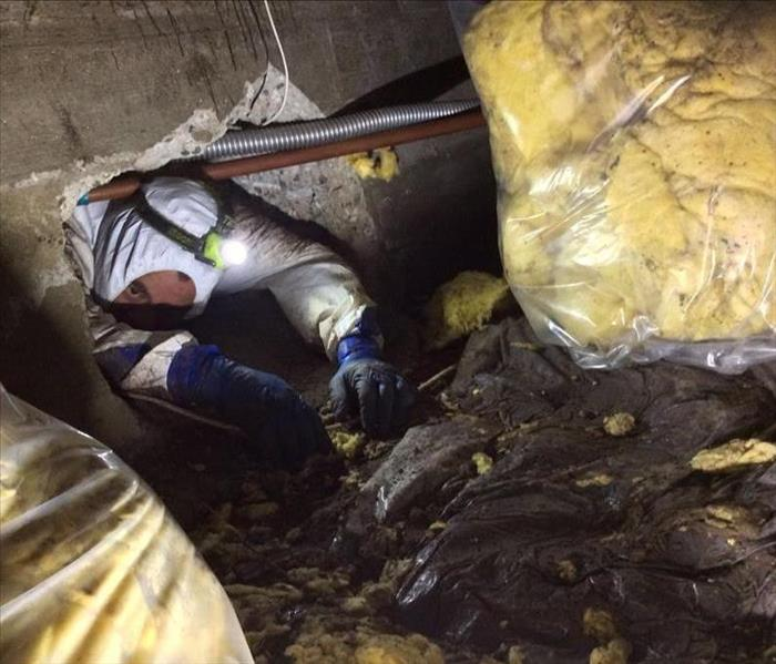 SERVPRO employee in crawl space bagging installation.